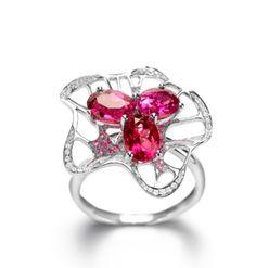 Ring | Fei Liu. White gold, Rubelitte, pink sapphire and diamonds.
