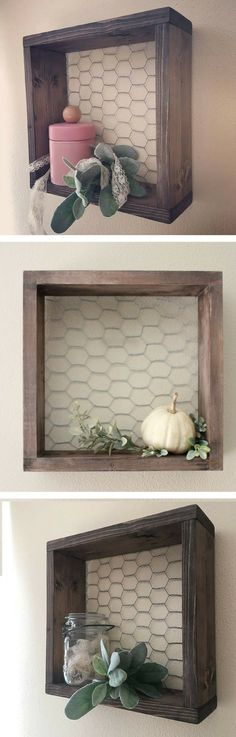 Perfect shelf to fit in with my rustic farmhouse decor! Chicken Wire & Wood Shelf Farmhouse Decor Farmhouse Shelf Wall Square Box by margret Rustic Farmhouse Decor, Country Decor, Rustic Decor, Farmhouse Style, Rustic Kitchen, Country Style, Kitchen Decor, Rustic Wood Crafts, Kitchen Country