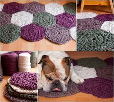 """Giant-Crochet-Hexagonal-Rug-wonderfuldiy.com, by """"Sweet and Knit."""" """"This Giant Crochet Hexagonal Rug  is great for your home that  you can make it with your favorite color to  match your decor!   Free pattern by Sweet and Knit."""" (I see it in Spanish.)"""