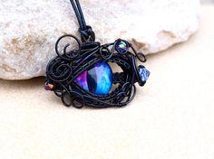 Dragon's Eye wire wrapped blue purple pendant  OOAK by Ianira