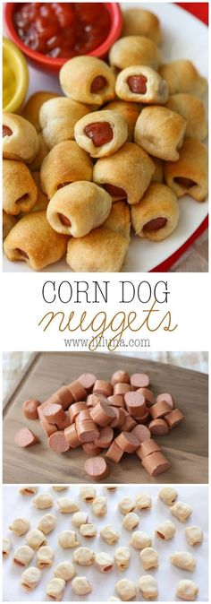 Dog Nuggets - it's the family's new favorite recipe! It's simple, delicious and is perfect for lunch, dinner or even a party!Corn Dog Nuggets - it's the family's new favorite recipe! It's simple, delicious and is perfect for lunch, dinner or even a party! Snacks Für Party, Lunch Snacks, Appetizers For Party, Appetizer Recipes, School Snacks, Simple Appetizers, Simple Snacks, Simple Finger Foods, Simple Lunch Ideas