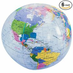 Earth Globe Beach Balls - 6 Cnt.