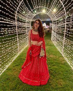 Mehndi outfit - Beautiful Chikankari Lehengas that are too Good to be Missed! Red Lehenga, Bridal Lehenga, Lehenga Choli, Sabyasachi, Red Wedding Lehenga, Bollywood Lehenga, Wedding Mandap, Wedding Stage, Wedding Receptions