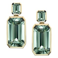 From the Angelina Jolie Jewelry Collection: The Green Beryl Earrings worn by Jolie to the premiere of The Tourist