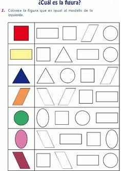 Colorear figura igual al modelo … Kindergarten Math Worksheets, Preschool Learning Activities, Preschool Printables, Preschool Activities, Kids Learning, Numbers Preschool, Math For Kids, Kids Education, Kids And Parenting