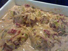 Karbonader i fløde/porre sauce