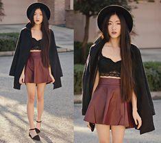 Oasap Wide Brim Hat, Chicnova Lace Bralette, Romwe Oxblood Pleather Skirt, Goodnight Macaroon Pointy Ankle Strap Flats