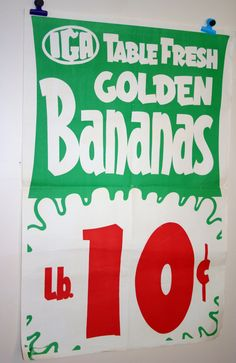 1960's IGA Grocery Store Window Ad Poster, Table Fresh Golden Bananas.