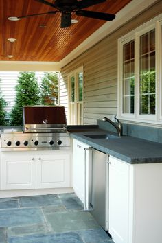 Outdoor Kitchen- ? wood paneling on roof