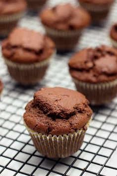 Whole-Grain Chocolate Zucchini Muffins - Gluten-free, Dairy-free & Nut-free
