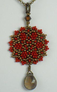 Beadwoven Single Mandala Necklace / Smoky Quartz Briolette / Antique Brass Chain - - - Helika