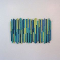 Wooden Strips Wall Sculpture Sweet Dreams Blues and by TateLowe, Clean Living Rooms, Stripped Wall, White Picket Fence, Wall Sculptures, Sweet Dreams, Art Projects, Blues, Arts And Crafts, Wall Art