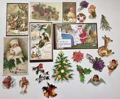 Christmas Ephemera pack 4 cut outs december daily scrapbook