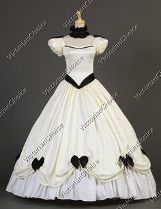 Southern Belle Victorian Princess Cream Wedding Dress Gown Ball Gown Reenactment Clothing