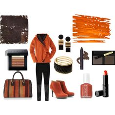 """Orange jacket with black accessories"" by martha-hill-carter on Polyvore"