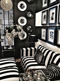 B&W decor - LOVE the stripes!!! Classic Casa's