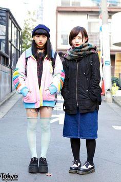 Harajuku Girls Wearing Galaxxxy, Led Zeppelin, Long Socks, Creepers & Dr. Marten...