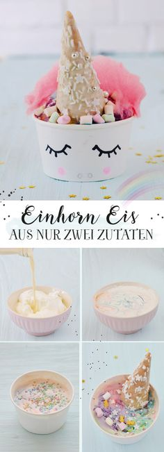 Super leckeres Einhorn Eis selber machen Super delicious, colorful unicorn ice * Simply make two ingredients yourself * sweet condensed milk + cream * Many great unicorn ideas * Minidrops Glace Unicorn, Unicorn Ice Cream, Unicorn Diy, Unicorn Foods, Magical Unicorn, Unicorn Cups, Make Ice Cream, Ice Cream Party, Köstliche Desserts