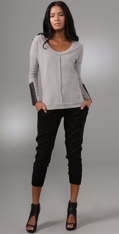 $187 NWOT Fabulous CORSON Scoop Neck Top w/Leather Sleeve Detail sz S, Grey #Corson #NewSteadyTop