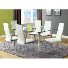 Furniture of America Zeino 7 Piece Glass Top Dining Set - White