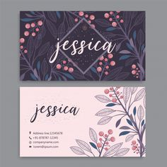 Business Card Template Set With Watercolor Flowers All Design, Graphic Design, Flower Frame, Vector Background, Visual Identity, Watercolor Flowers, Business Cards, Vector Free, Lettering