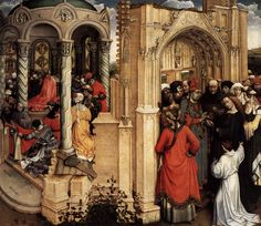 Robert Campin - The Marriage of Mary (Museo Nacional del Prado (Spain - Madrid)) ロベルト・カンピン Robert Campin, Virtual Museum, Romanesque, Old Master, Renaissance Art, Christian Art, Religious Art, Online Gallery, Middle Ages