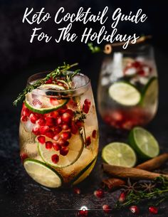 Enjoy the holiday season with this Keto Cocktail Guide. It includes tips of the to the do's and don'ts of alcohol and a few of my favorite keto/low carb holiday cocktail recipes. #ketococktails #ketodrinks #happyhealthyholidays #ketoalcohol Mojito, Keto Cocktails, Holiday Cocktails, Diet Drinks, Low Carb Mixed Drinks, Pomegranate Margarita, Pomegranate Recipes, Pomegranate Seeds, Cocktail Original