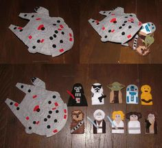 I got this idea from www.theidearoom.net but expanded upon it by adding the Millennium Falcon carrying case! I just sketched out my characters, cut some felt, sewed them up, added eyes, and voila! Star Wars Finger Puppets!!
