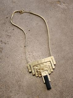 modern stacked pendant necklace with faux onyx tip and box chain | shopcuffs.com, $24