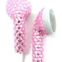 Pink (White Cord) Crystal Rhinestone Earphones Earbuds with Microphone: Cell Phones & Accessories