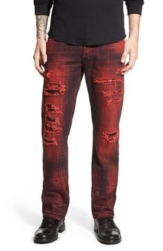 81478a30 Men's PRPS 'Barracuda - Yuriko' Shredded Straight Leg Jeans (Red) Red Jeans