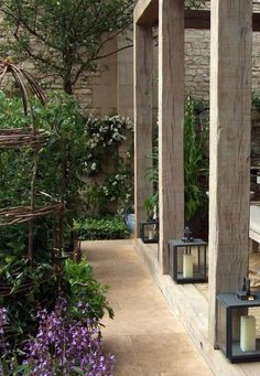 great timber pergola using larger sleeper style timber posts
