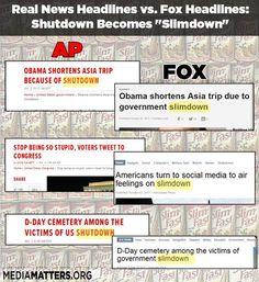 """Fox News has been changing the headlines of Associated Press articles so that instead of saying """"shutdown,"""" they use the GOP-friendly """"slimdown."""""""
