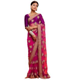 Sabyasachi Mukherjee - Sabyasachi Saree - magenta and hot pink saree - jhumka earrings - traditional Indian wedding - Indian bride - vintage bindi #thecrimsonbride