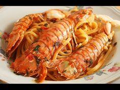Mantis Shrimps with Tomato Sauce and Linguine. Italian dish
