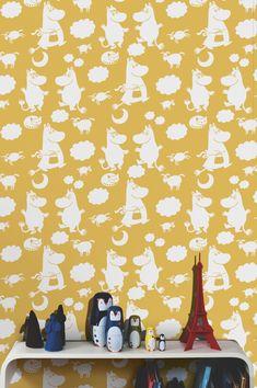 Moomin Retro Pattern Yellow  #Moomin #wallpaper #tapet #wallmural #kidsroom #ToveJansson #moomincom #tapetti #homedecor #interior #tapet