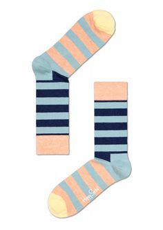 Fun socks for happy people at Happy Socks! Stripe crem, blue & black sock