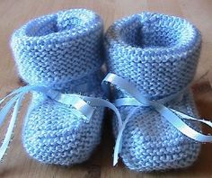 Knitted Baby Booties  blue size 06 mo by Snowbabyscreations, $9.00