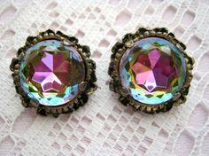 vintage crystal round earrings-antique brass filigree
