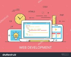 Linear Flat Responsive Web Development Layout Website Hero Image Vector Illustration. App Programming Technology And Software Concept. C#, Php, Html5, Css3 Technologies, Laptop, Tablet And Smartphone. - 474847168 : Shutterstock