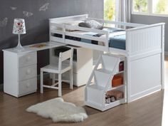 Acme Contemporary Twin Wyatt White Loft Bed with Swivel desk. Otra opcopn para los niños
