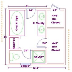 Free Bathroom Plan Design Ideas - Master Bathroom Design Size with His Her  Closets/Free Master Bath Floor Plan with His and Her Closet Layout