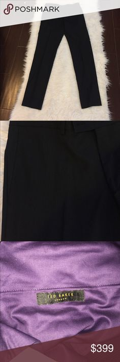 NWT Ted Baker London Men's Dress Pants Size 36R NWT Ted Baker London Men's Dress Pants. Size 36R. The color is black with pinstripes that seem to have a tad bit of blue. The hem has to be done like with any other dress pants because they have been unworn. Ted Baker London Pants Dress