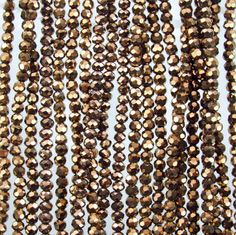 3.5x2.5mm Faceted Metallic Bronze Chinese Crystal Rondelle Beads 10 Inch Strand (35CCS28)