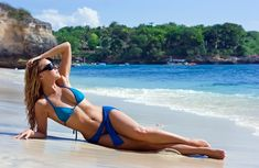 Exotic Island Girl | ... . Blonde girl relaxing the sandy beach. Bali island tour, Indonesia