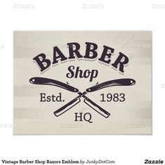 Shop Vintage Barber Shop Razors Emblem Classic Round Sticker created by JunkyDotCom. Barber Poster, Barber Sign, Throw Pillow Cases, Decorative Throw Pillows, Modern Barber Shop, Paper Plates, Vintage Paper, Tool Design, Vintage Designs