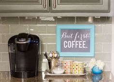 Small coffee station on a kitchen countertop 217x155 20 Charming Coffee Stations to Wake Up to Every Morning