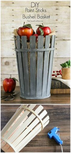 Painted sticks diy - Stunning DIY Projects To Beautify Your Life – Painted sticks diy Crafts For Teens, Crafts To Sell, Easy Crafts, Paint Stick Crafts, Dyi, Easy Diy, Bushel Baskets, Recycling, Dollar Tree Crafts