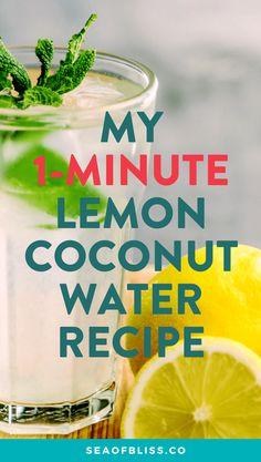My Super Simple Lemon Coconut Water Recipe water Coconut Water Brands, Coconut Water Recipes, Coconut Water Benefits, Lemon Coconut, Weight Loss Water, Easy Detox, Lemon Water, Bubble Tea, Diet Motivation