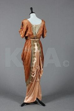~A Madame Ernest Ltd cinammon gauze silk and satin evening gown, circa 1910, back~